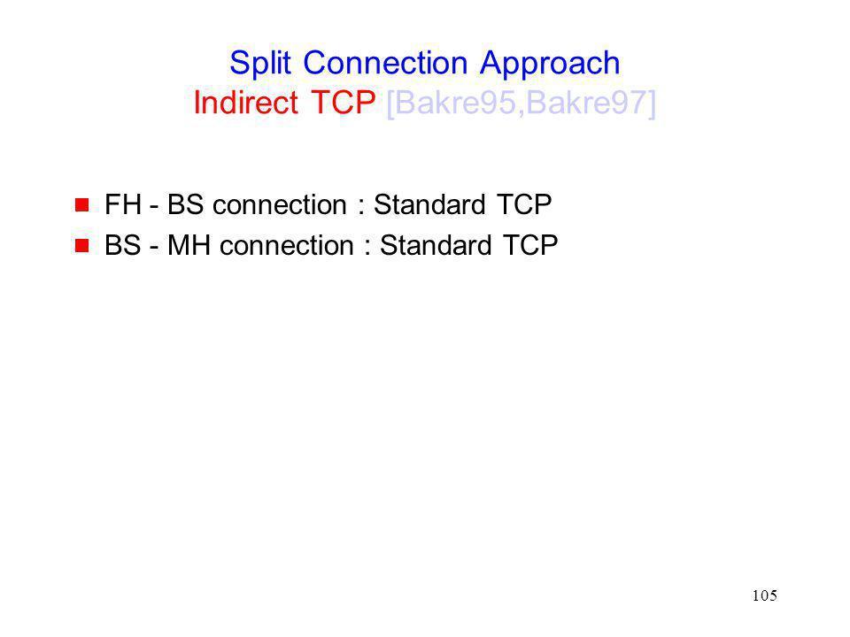 Split Connection Approach Indirect TCP [Bakre95,Bakre97]